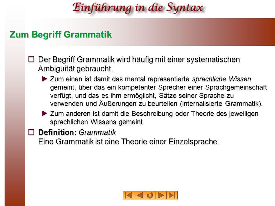 Zum Begriff Grammatik Der Begriff Grammatik wird häufig mit einer systematischen Ambiguität gebraucht.