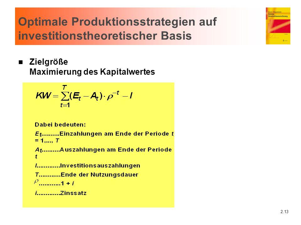 Optimale Produktionsstrategien auf investitionstheoretischer Basis