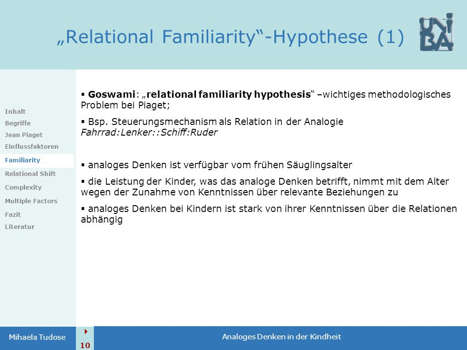"""Relational Familiarity -Hypothese (1)"