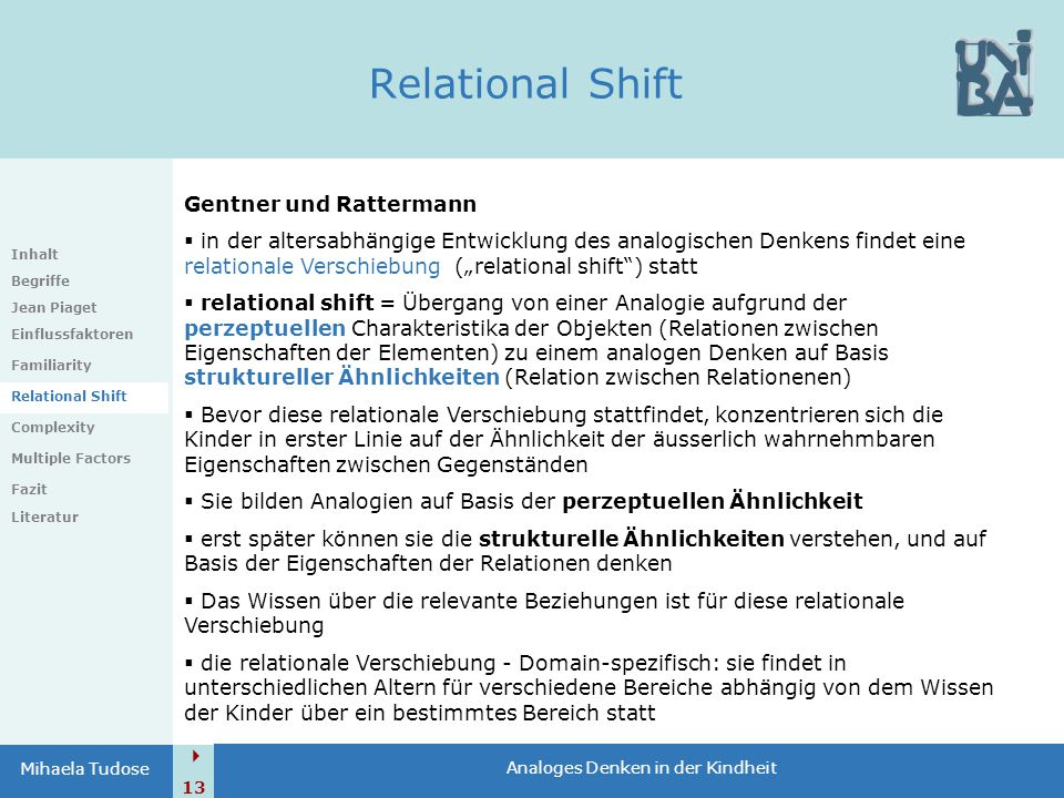 Relational Shift Gentner und Rattermann