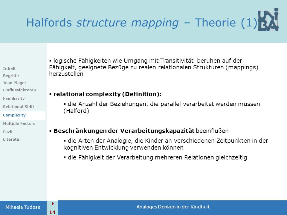 Halfords structure mapping – Theorie (1)