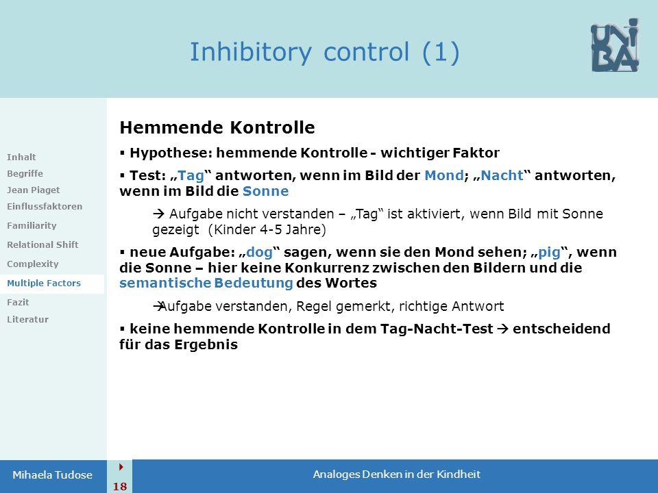 Inhibitory control (1) Hemmende Kontrolle