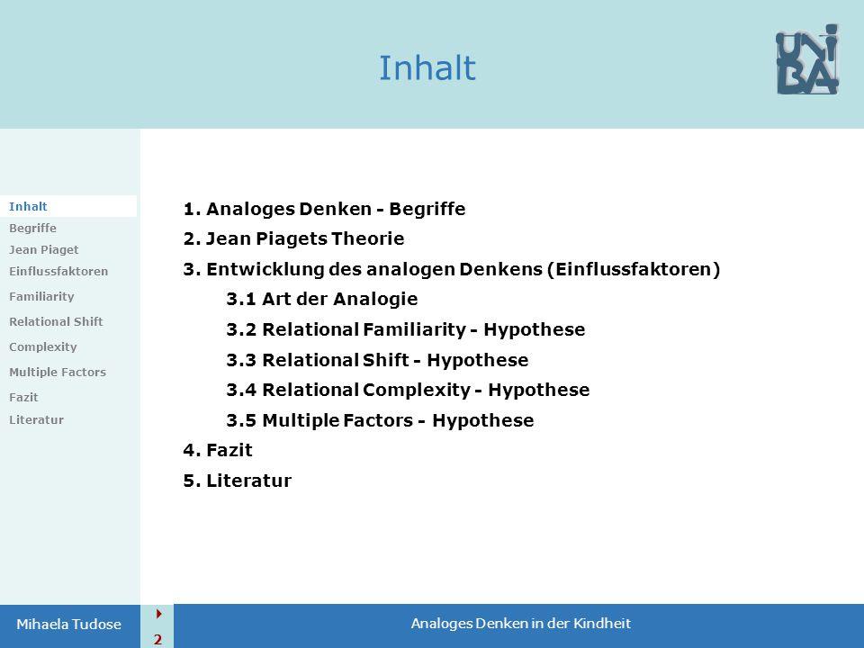 Inhalt 1. Analoges Denken - Begriffe 2. Jean Piagets Theorie