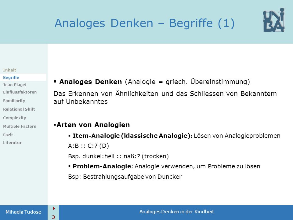 Analoges Denken – Begriffe (1)