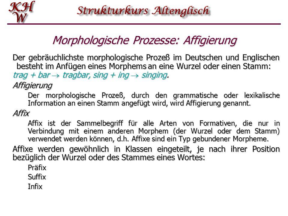 Morphologische Prozesse: Affigierung