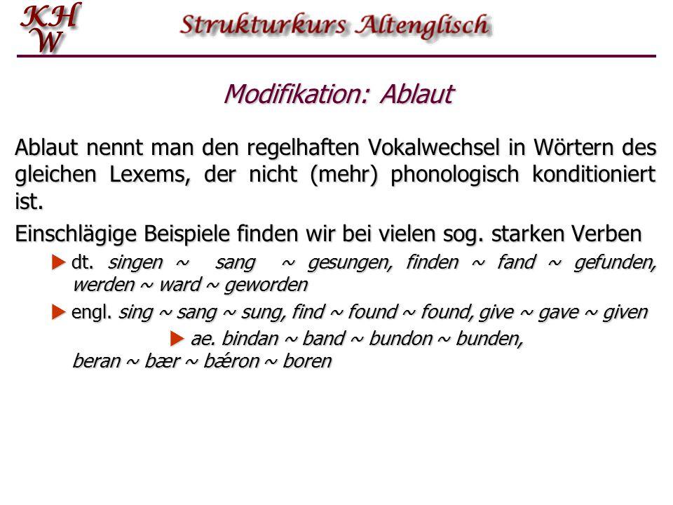 Modifikation: Ablaut Ablaut nennt man den regelhaften Vokalwechsel in Wörtern des gleichen Lexems, der nicht (mehr) phonologisch konditioniert ist.