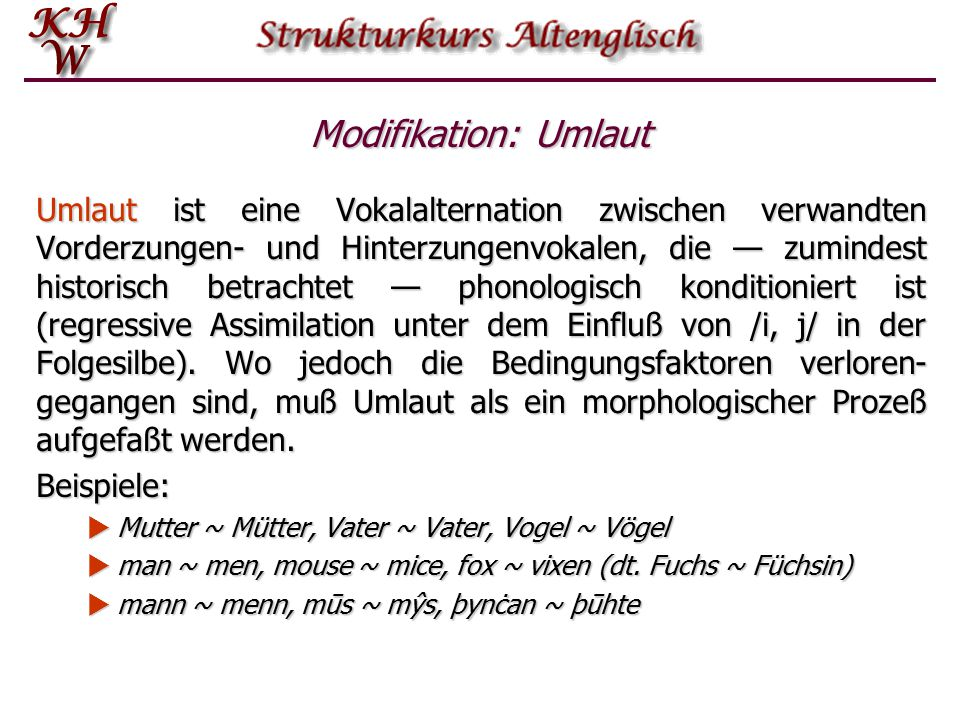 Modifikation: Umlaut