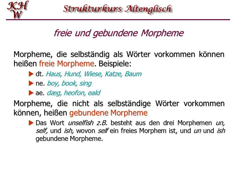 freie und gebundene Morpheme
