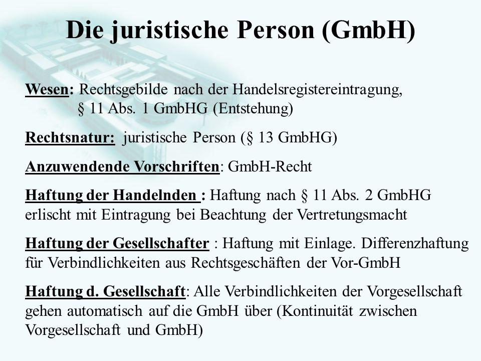 Die juristische Person (GmbH)