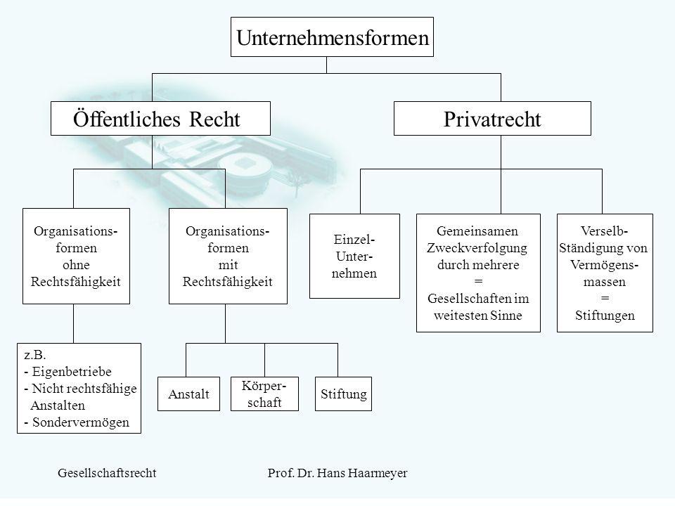 Unternehmensformen Öffentliches Recht Privatrecht Organisations-