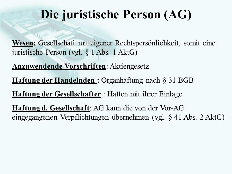 Die juristische Person (AG)