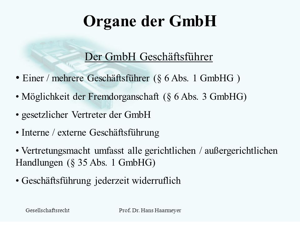 Der GmbH Geschäftsführer