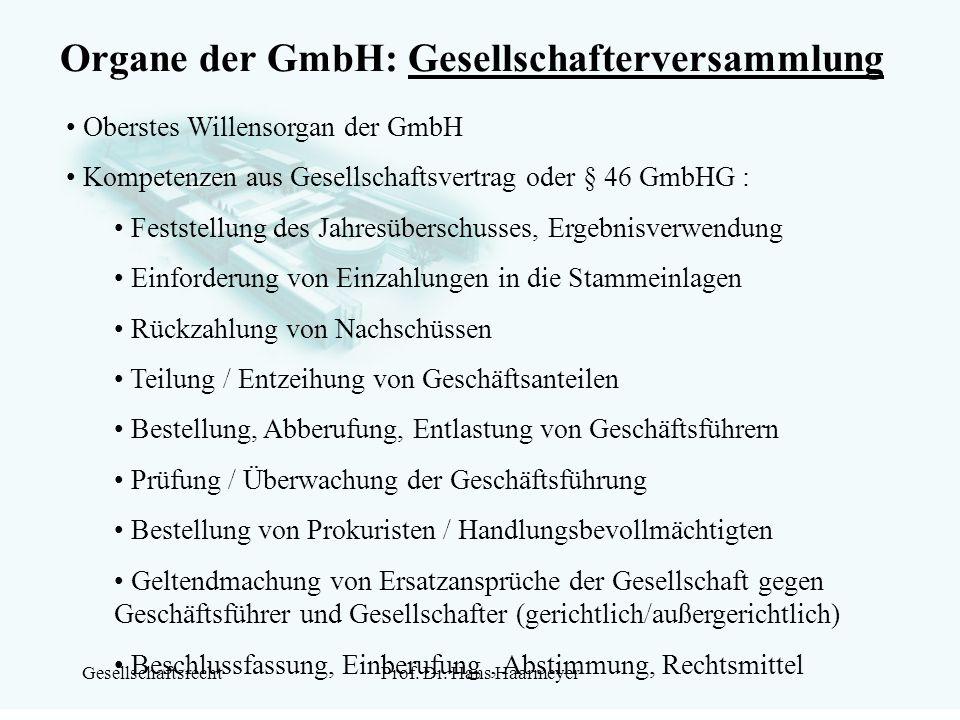 Organe der GmbH: Gesellschafterversammlung