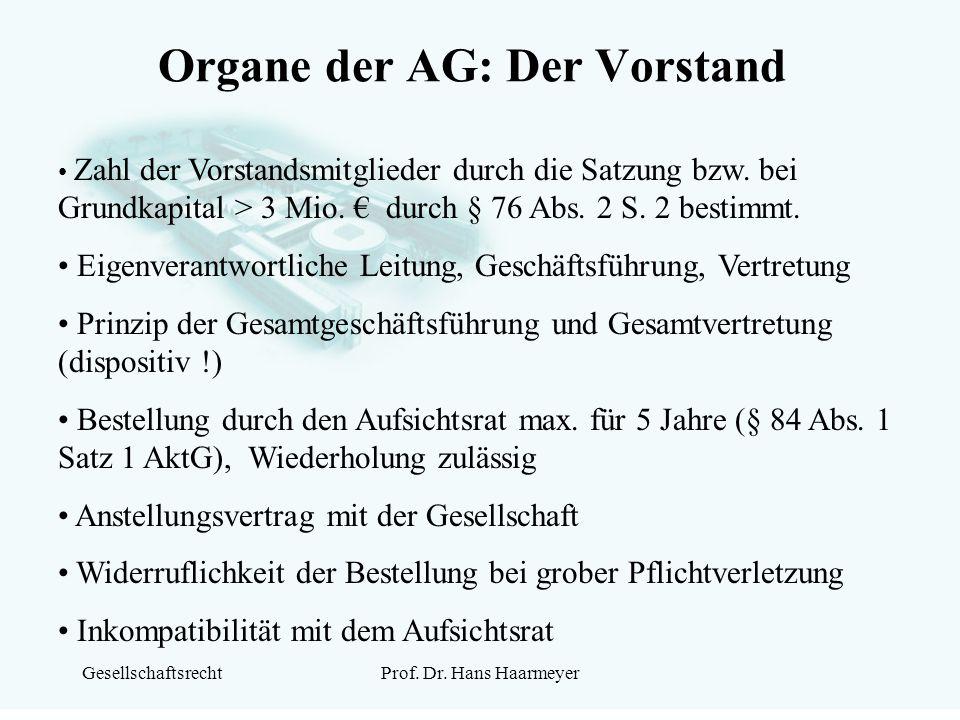 Organe der AG: Der Vorstand