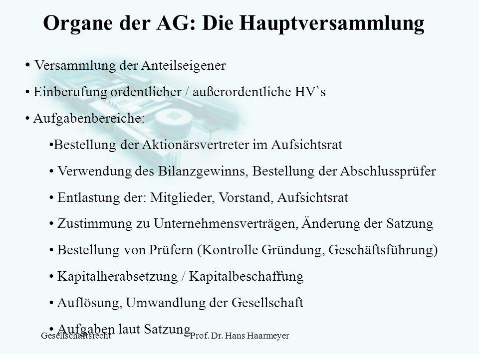 Organe der AG: Die Hauptversammlung