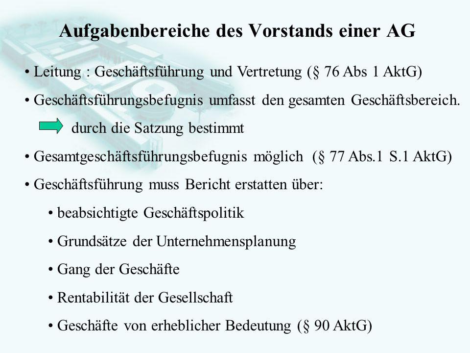 Aufgabenbereiche des Vorstands einer AG