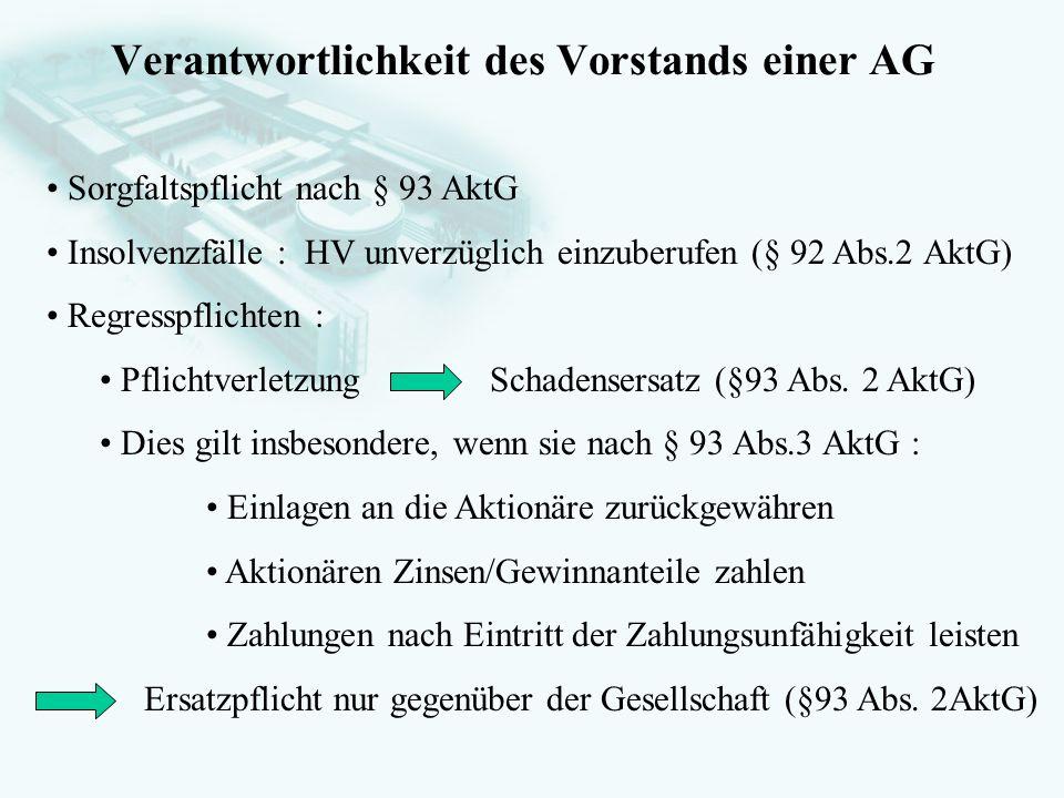 Verantwortlichkeit des Vorstands einer AG