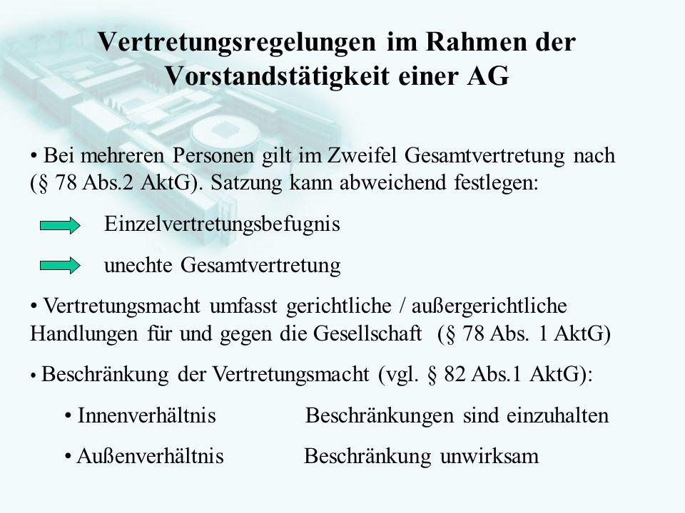 Vertretungsregelungen im Rahmen der Vorstandstätigkeit einer AG