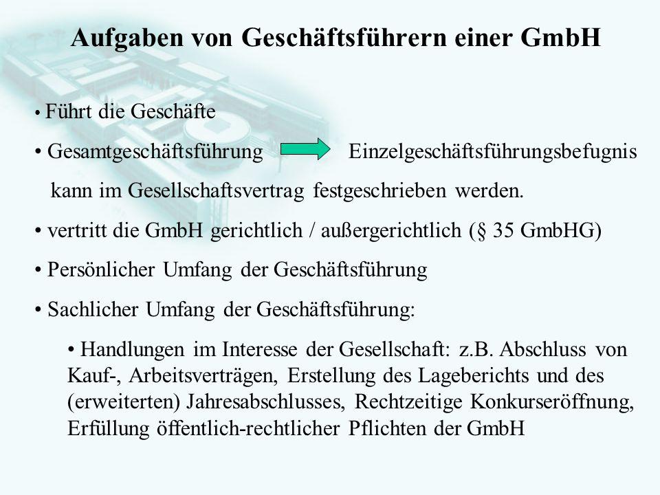 Aufgaben von Geschäftsführern einer GmbH