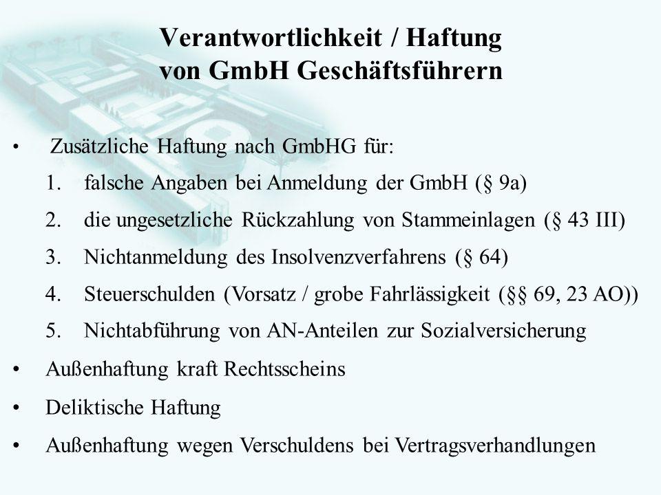 Verantwortlichkeit / Haftung von GmbH Geschäftsführern