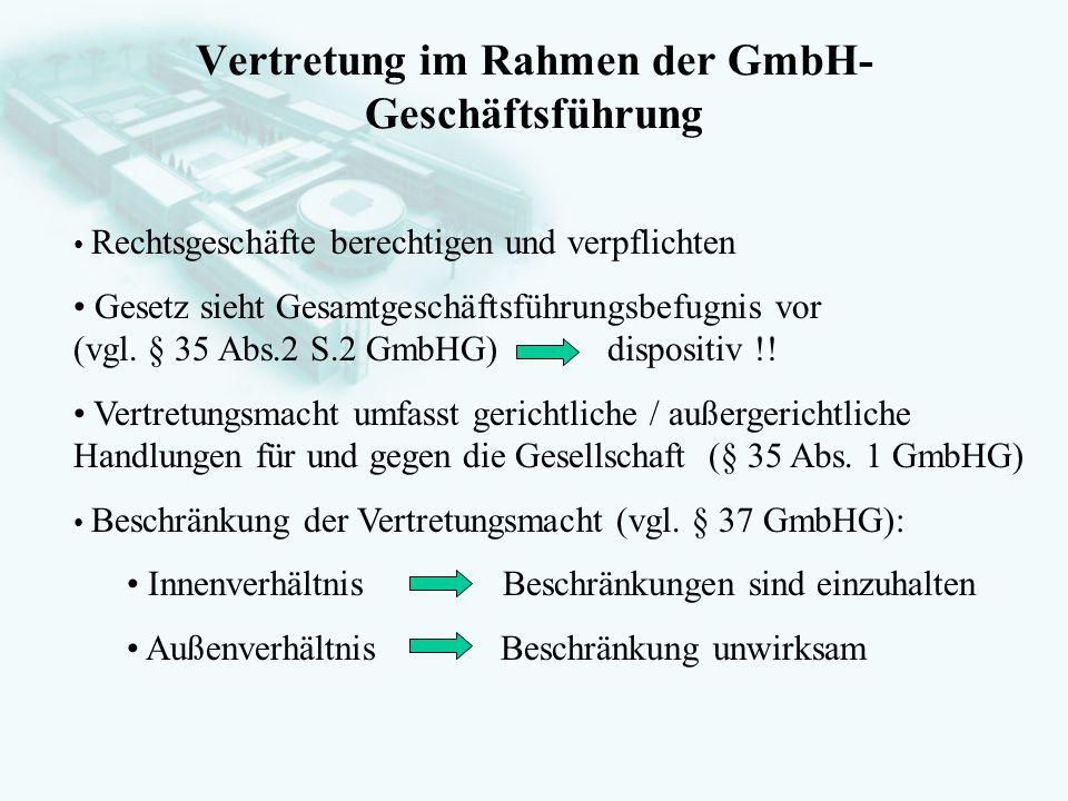 Vertretung im Rahmen der GmbH-Geschäftsführung