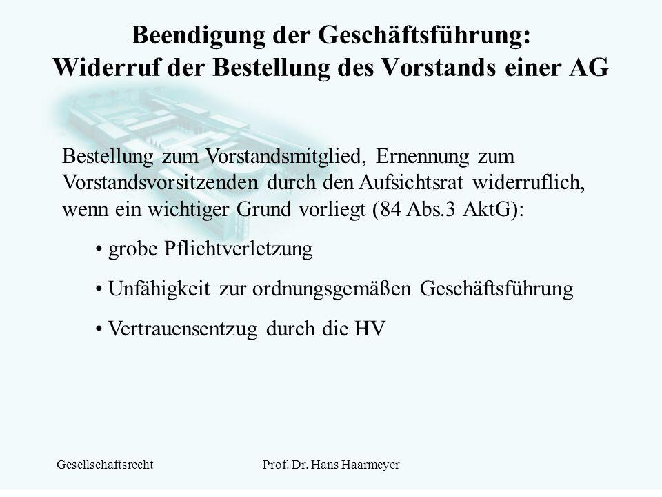 Beendigung der Geschäftsführung: Widerruf der Bestellung des Vorstands einer AG