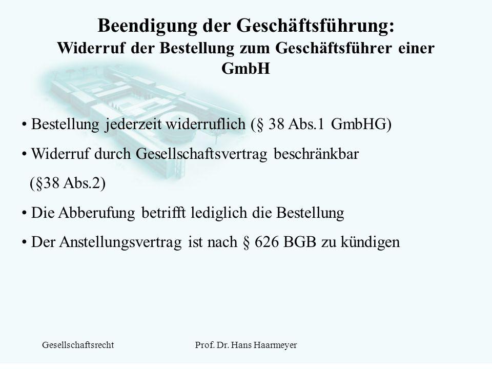 Beendigung der Geschäftsführung: Widerruf der Bestellung zum Geschäftsführer einer GmbH