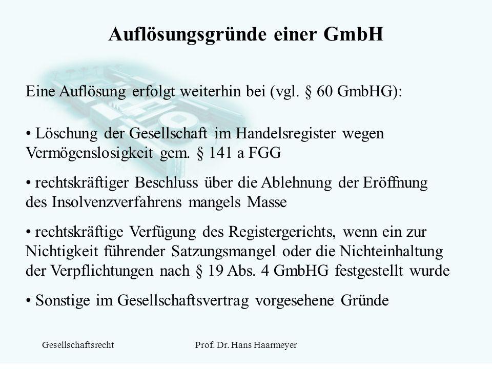 Auflösungsgründe einer GmbH