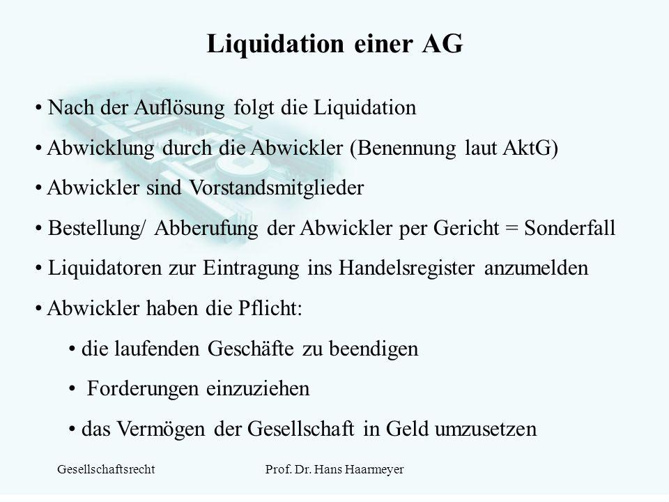 Liquidation einer AG Nach der Auflösung folgt die Liquidation
