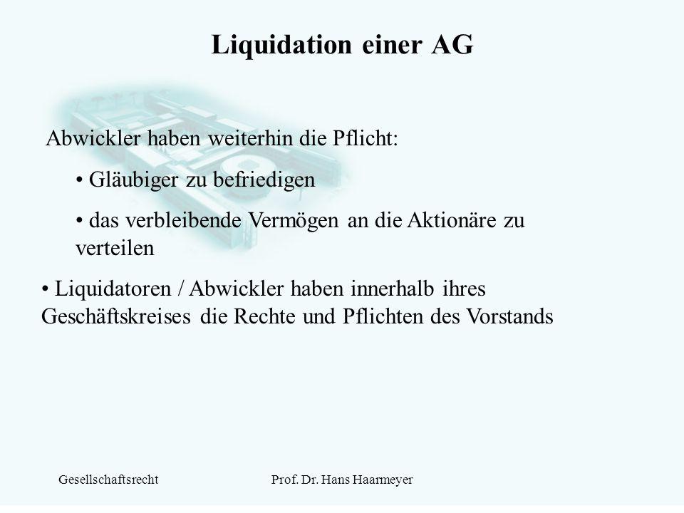 Liquidation einer AG Abwickler haben weiterhin die Pflicht:
