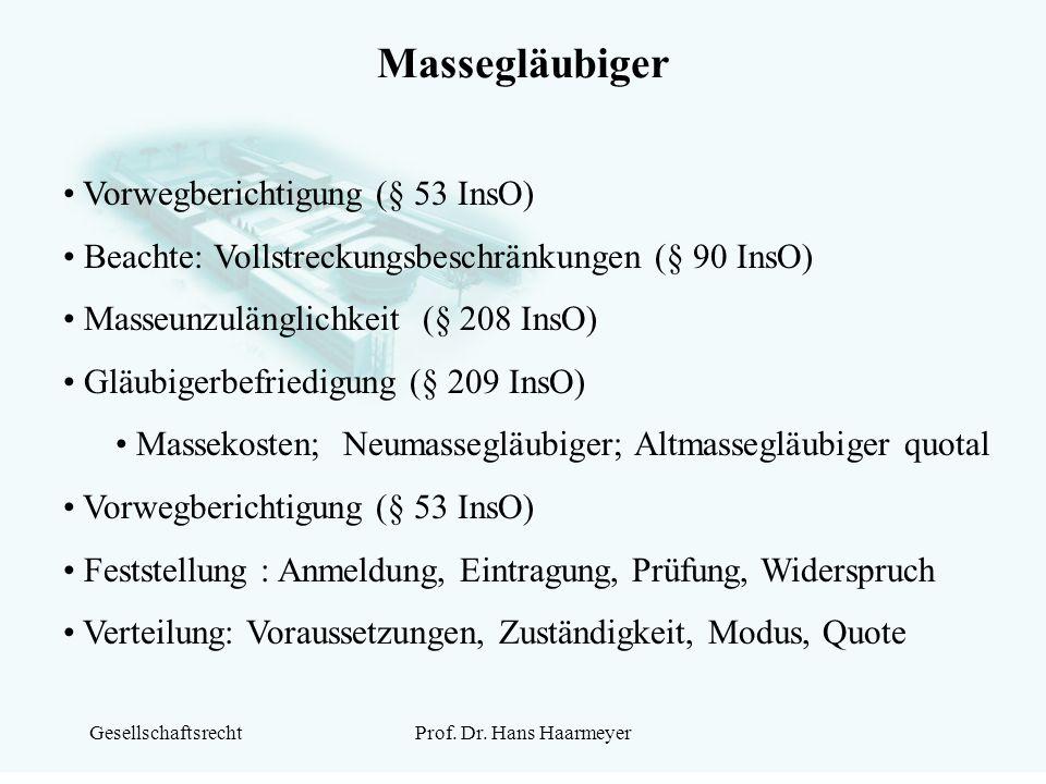 Massegläubiger Vorwegberichtigung (§ 53 InsO)