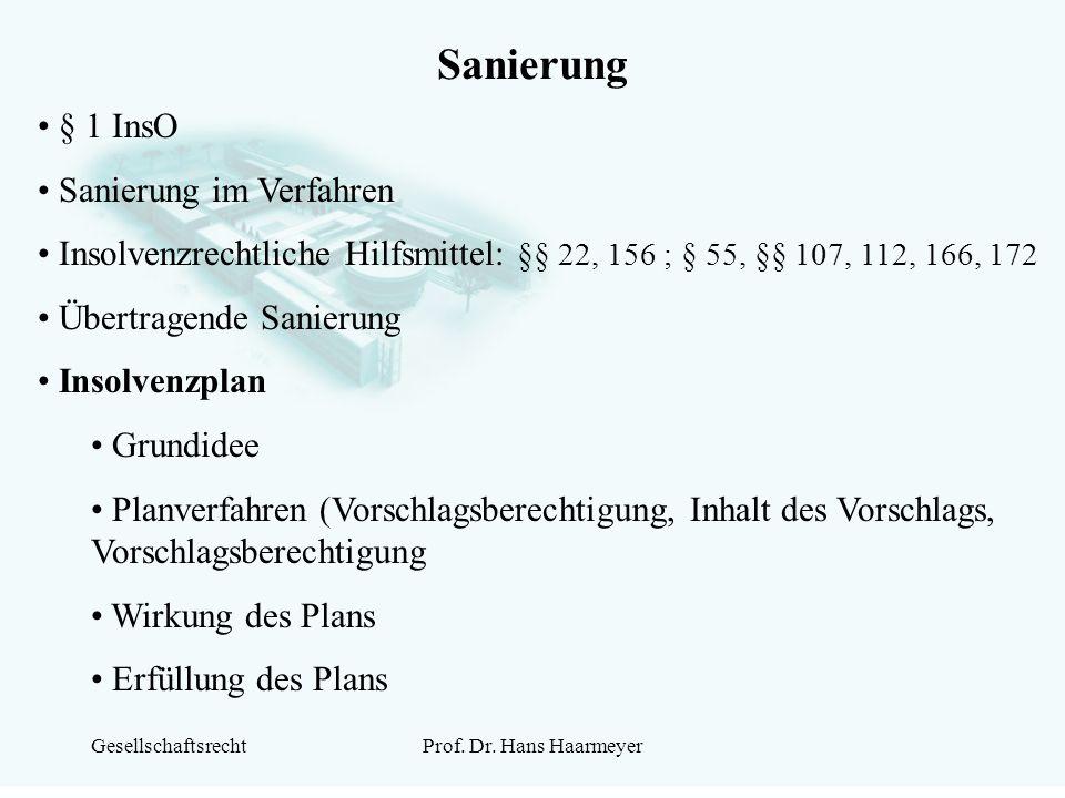 Sanierung § 1 InsO Sanierung im Verfahren