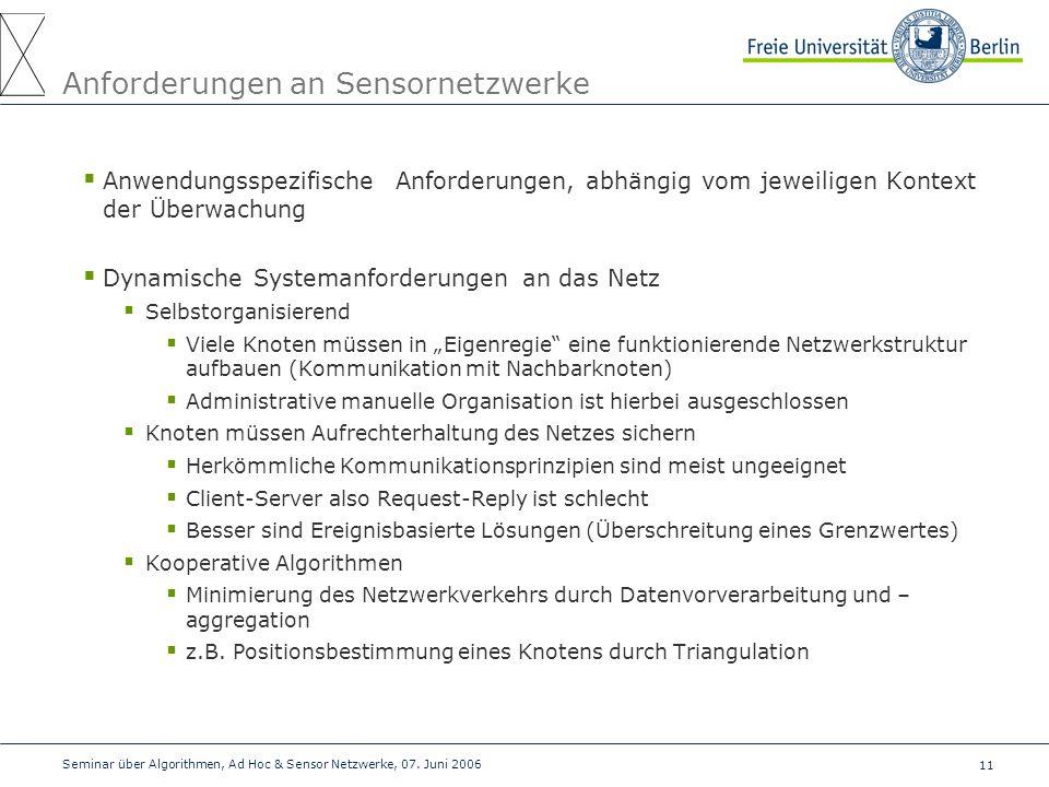Anforderungen an Sensornetzwerke