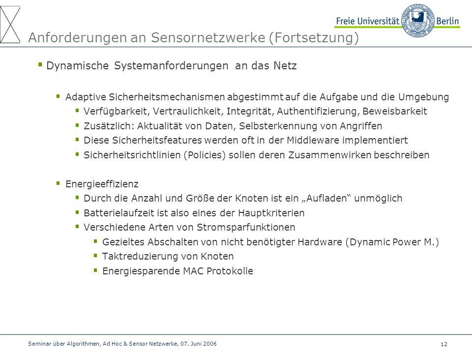 Anforderungen an Sensornetzwerke (Fortsetzung)