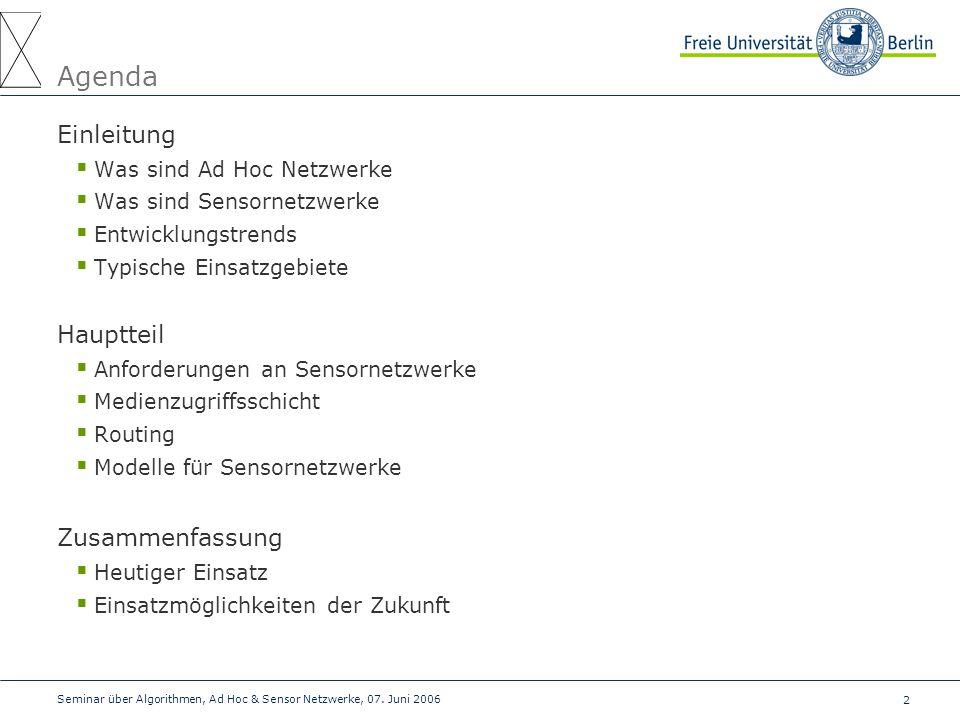 Agenda Einleitung Hauptteil Zusammenfassung Was sind Ad Hoc Netzwerke