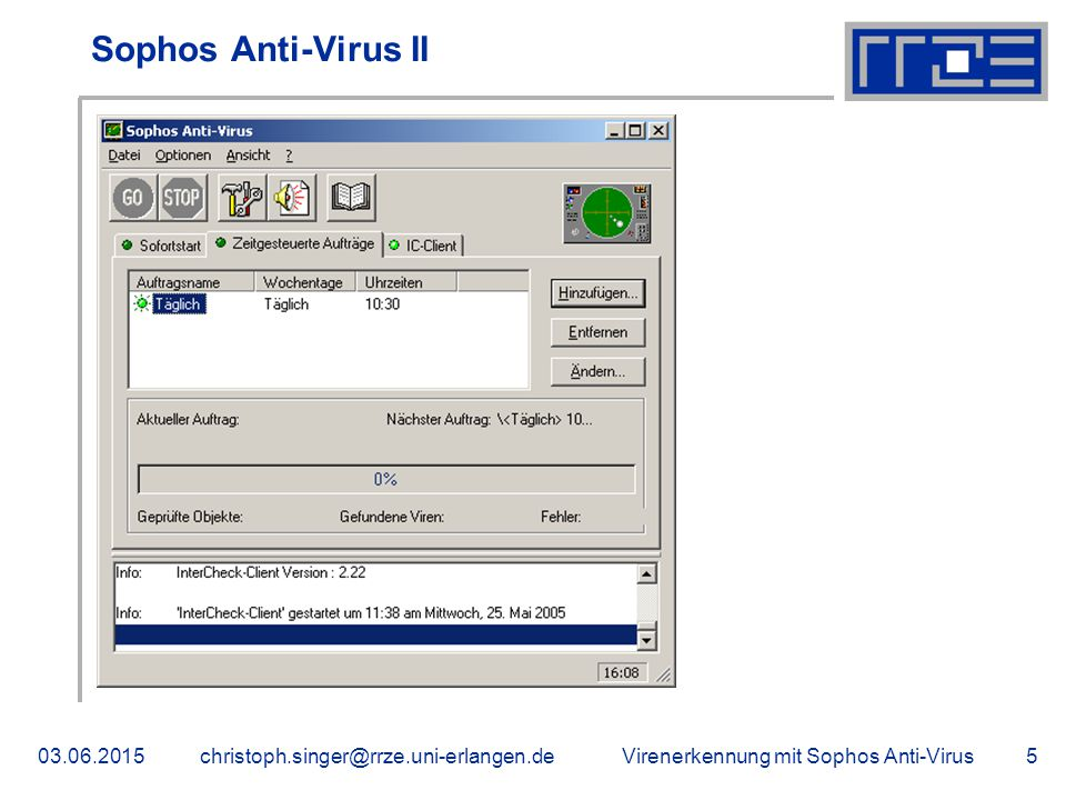 Sophos Anti-Virus II 16.04.2017 christoph.singer@rrze.uni-erlangen.de