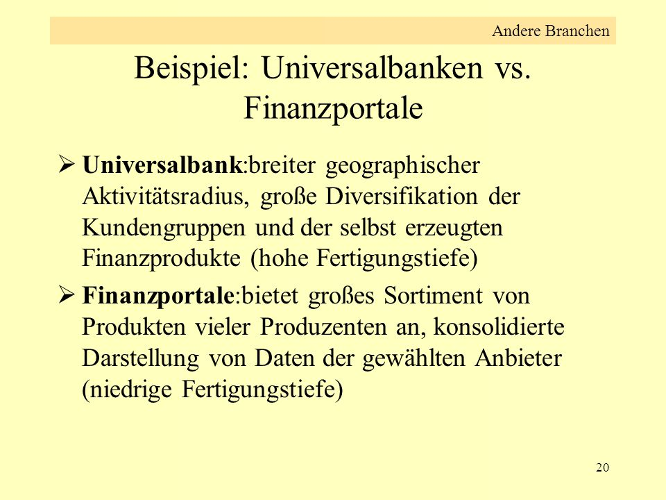 Beispiel: Universalbanken vs. Finanzportale