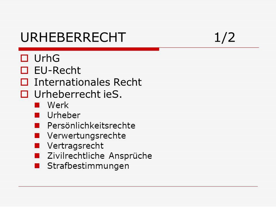 URHEBERRECHT 1/2 UrhG EU-Recht Internationales Recht Urheberrecht ieS.