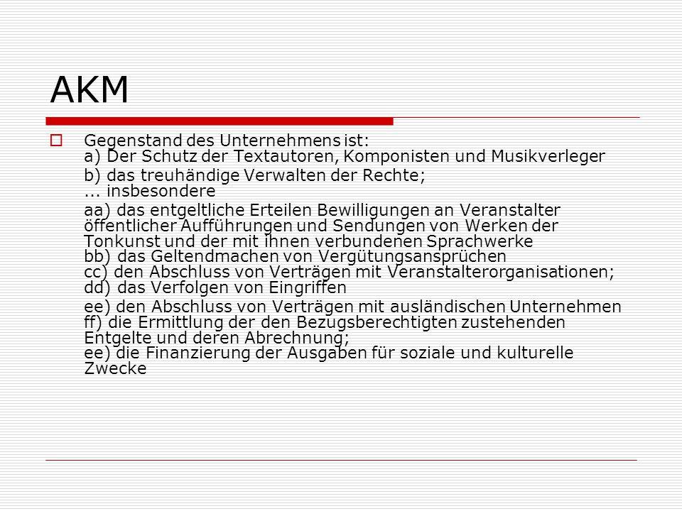 AKM Gegenstand des Unternehmens ist: a) Der Schutz der Textautoren, Komponisten und Musikverleger.