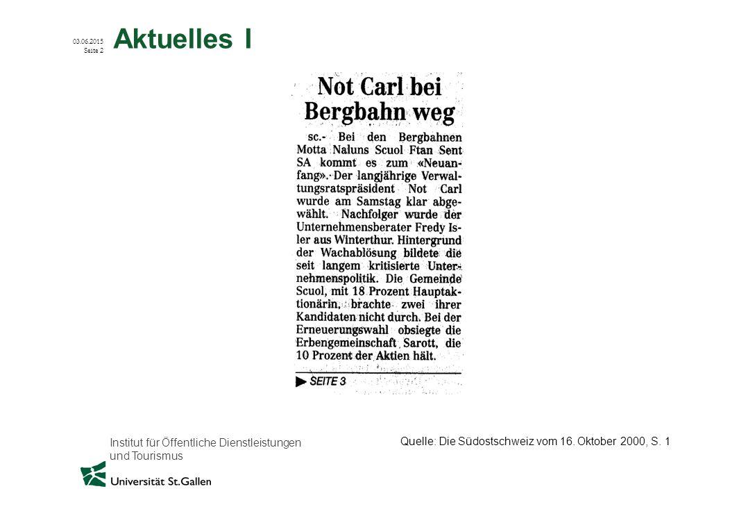 Aktuelles I Quelle: Die Südostschweiz vom 16. Oktober 2000, S. 1