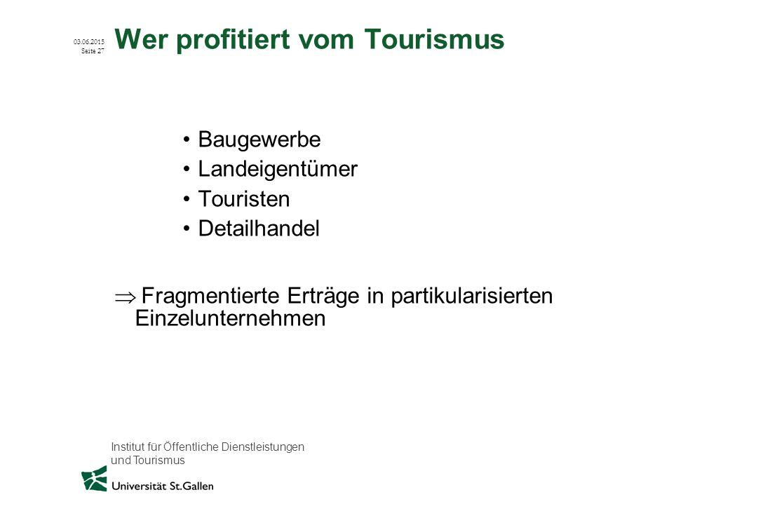 Wer profitiert vom Tourismus