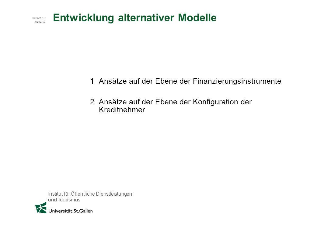 Entwicklung alternativer Modelle