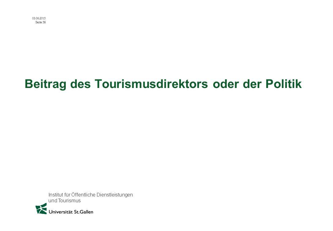 Beitrag des Tourismusdirektors oder der Politik
