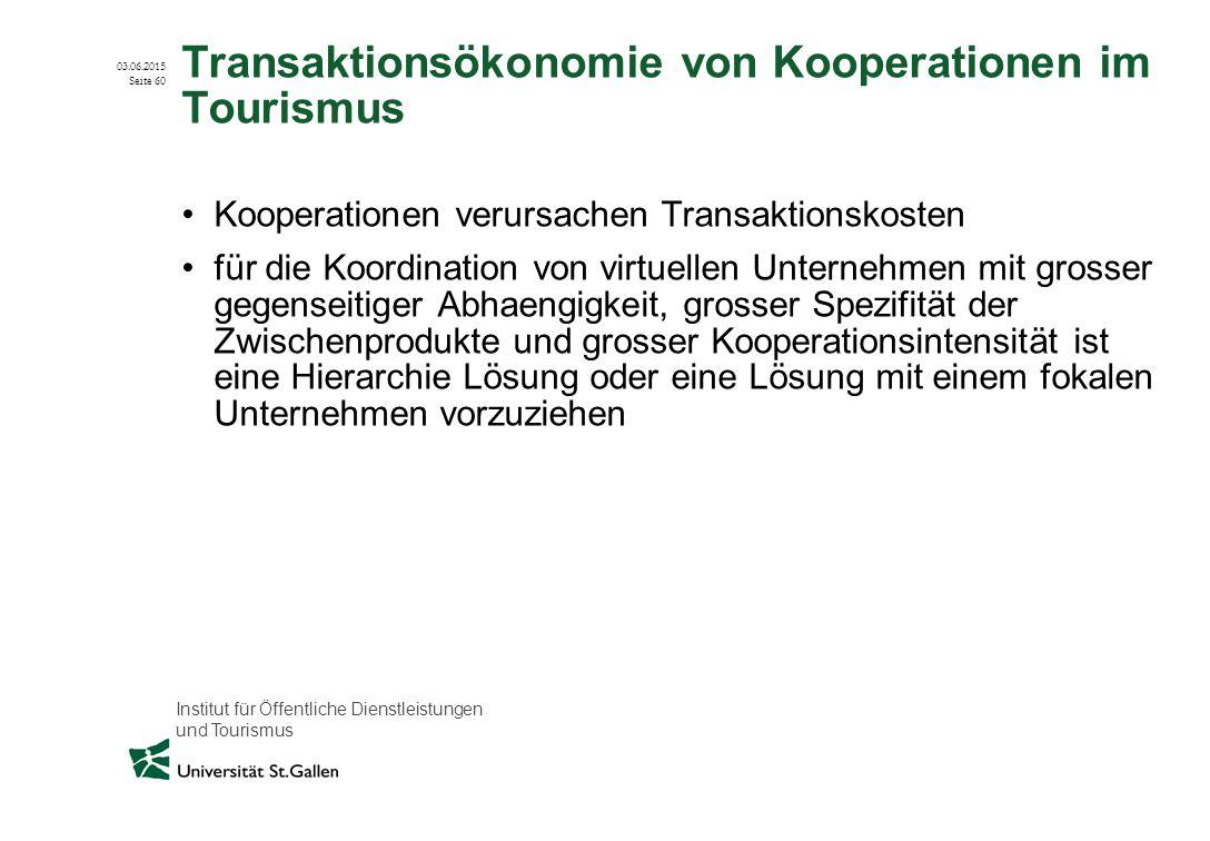 Transaktionsökonomie von Kooperationen im Tourismus