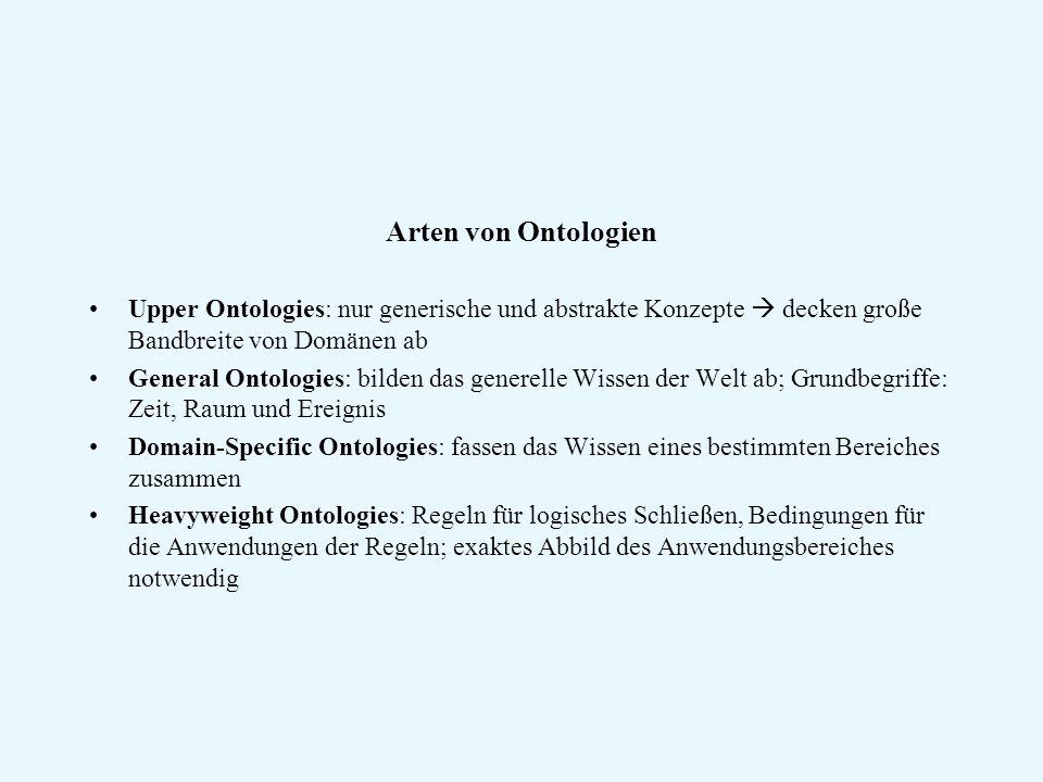 Arten von Ontologien Upper Ontologies: nur generische und abstrakte Konzepte  decken große Bandbreite von Domänen ab.