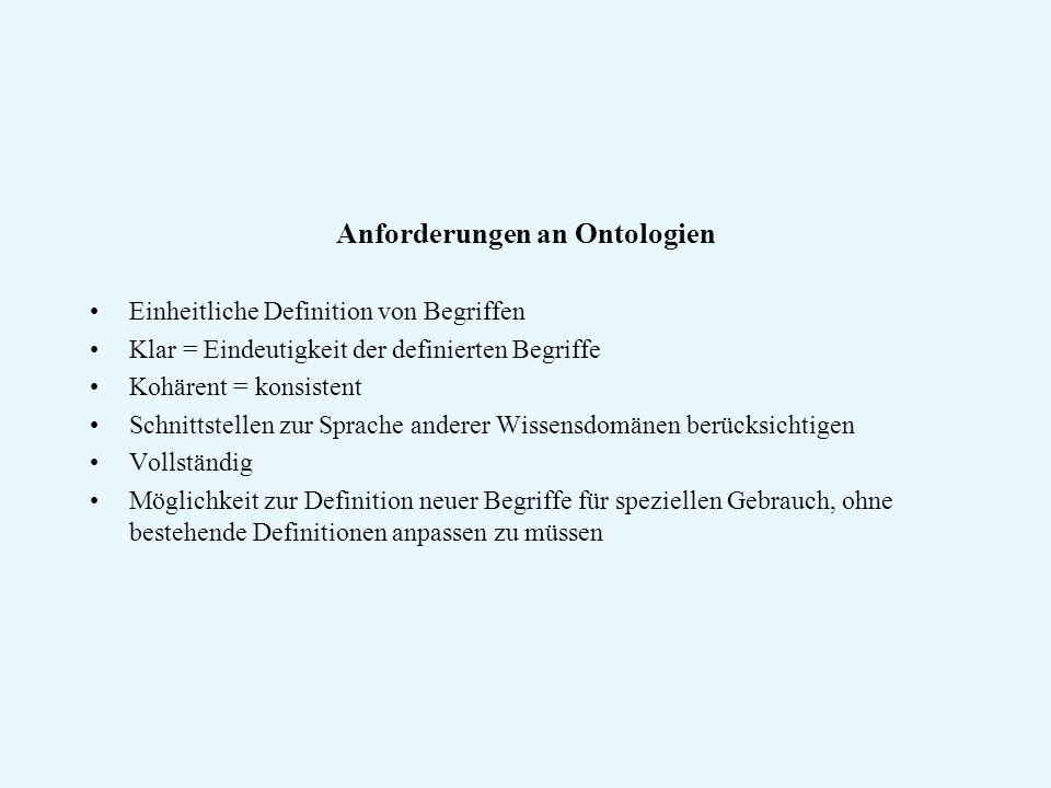 Anforderungen an Ontologien