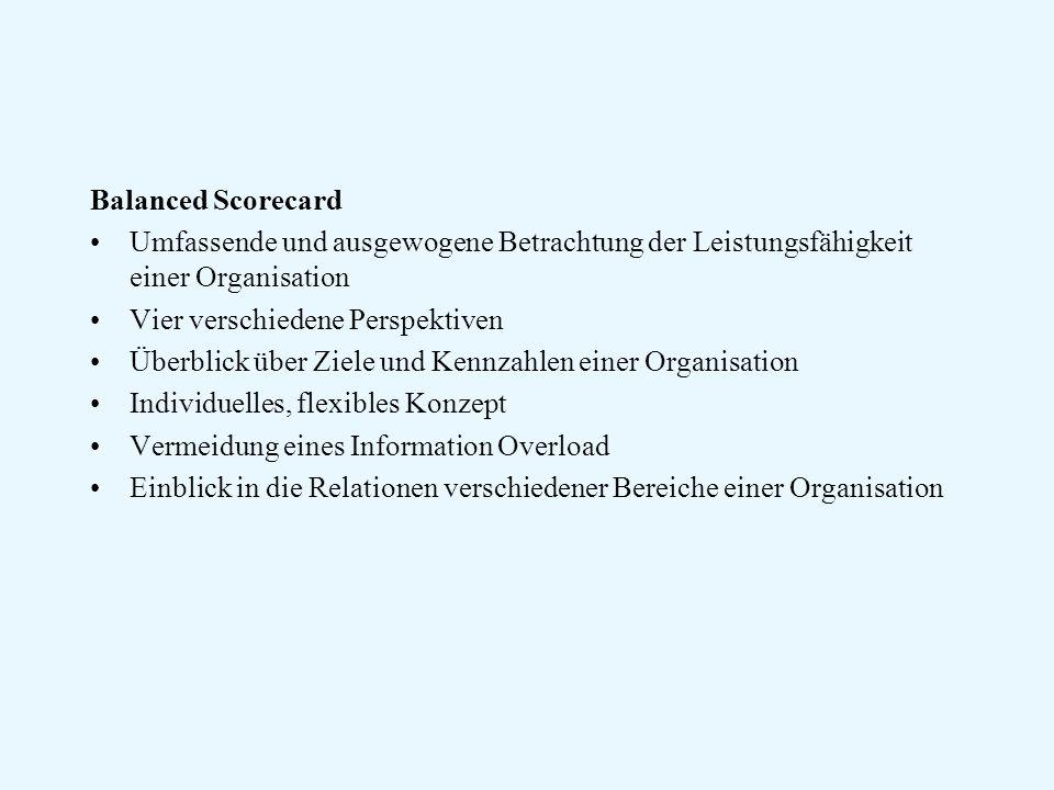 Balanced Scorecard Umfassende und ausgewogene Betrachtung der Leistungsfähigkeit einer Organisation.