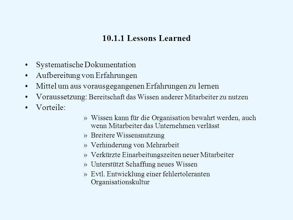 Lessons Learned Systematische Dokumentation