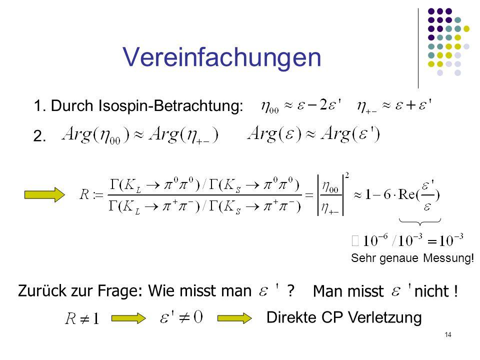 Vereinfachungen 1. Durch Isospin-Betrachtung: 2.