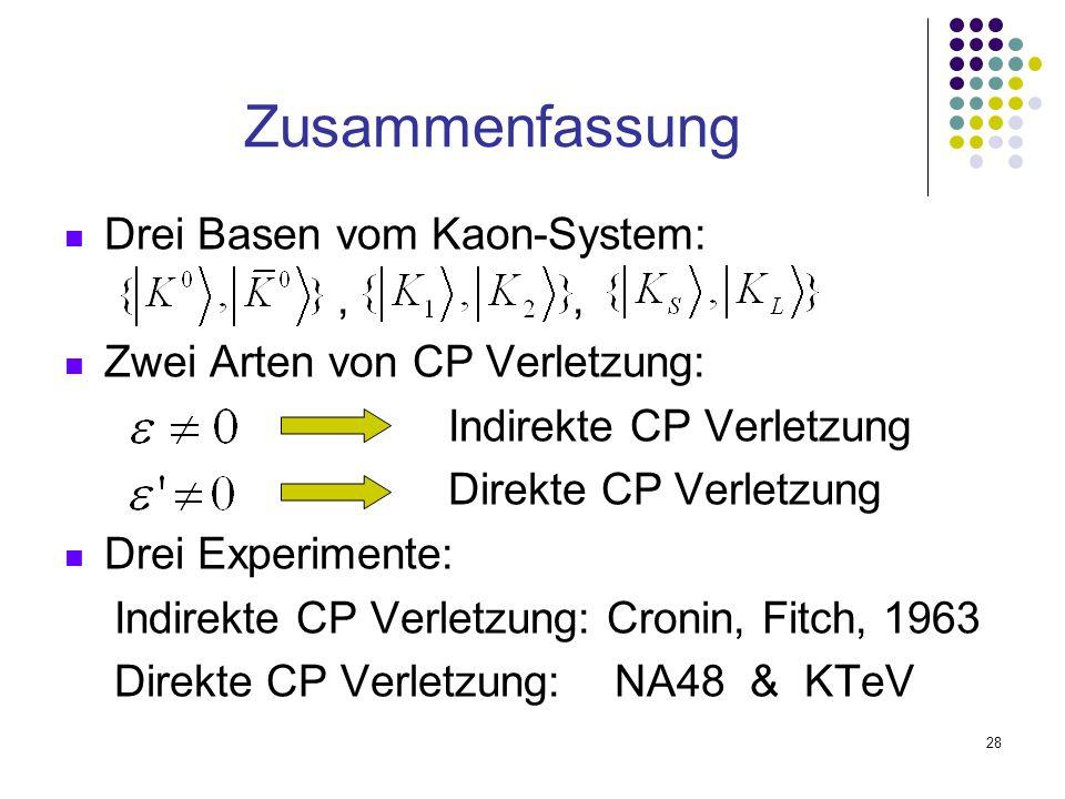 Zusammenfassung Drei Basen vom Kaon-System: , ,